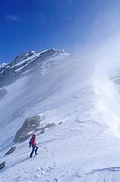 Woman ascending to mount Rotes Beil, Pfitschertal, Zillertal Alps, South Tyrol, Trentino_Alto Adige/Suedtirol, Italy