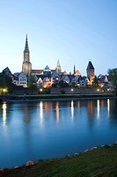 Cityscape in the evening, Danube, Ulm, Baden_Wuerttemberg, Germany, Europe