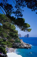 View at beach in a bay, Bagni Torre Saracena, Capri, Italy, Europe