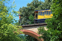 Car of Nerobergbahn on a bridge, Neroberg, Wiesbaden, Hesse, Germany, Europe
