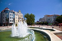 Fountain at pedestrian zone in Varna, Bulgaria, Europe