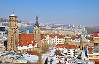 View over Stuttgart, inner city, Collegiate Church, Old Castle, Baden-Wuerttemberg, Germany, Europe