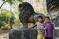 Children in front of the Lion Temple, temple of the central group, Prasat Tao, Sambor Prei Kuk, Kampong Thom, Cambodia, Indochina, Southeast Asia