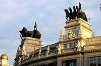 Sculptures in buildings of Alcalá Street, Madrid.Spain
