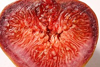 Fruit , Fig Ficus Carica Anjir half cut with red juicy texture on white background