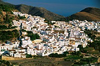 View at white village Frigiliana in the sunlight, Andalusia, Spain, Europe