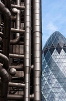 Lloyds of London and the Gherkin buildings in the Financial district of London, England