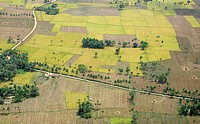 Aerial view of tilled and cultivated field , Andhra Pradesh , India