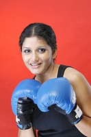 Female boxer in boxing outfit smiling MR 738