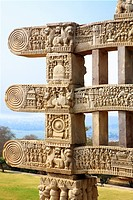 Close_up view of stories of Buddha seen on south pillar inner view of western gateway of stupa 1, Sanchi near Bhopal , Madhya Pradesh , India