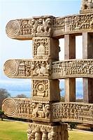 Close_up view of stories of Buddha seen on south pillar inner view of western gateway of stupa 1, Sanchi near Bhopal , Madhya Pradesh , India