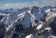 Mt Gartnerkofel, aerial view, Gailtal, Carnian Alps, Carinthia, Austria, Europe
