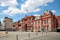 Presidential Palace, Casa Rosada building at Plaza de Mayo square, Montserrat district, Buenos Aires, Argentina, South America