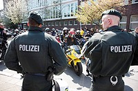 Police action at a get-together of the Bandidos motorcycle club, the City Run 2010 through downtown Essen, North Rhine-Westphalia, Germany, Europe