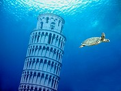 Leaning Tower of Pisa under water, symbolic image for future sea level rise
