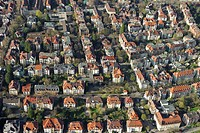 Aerial view of old buildings in Freiburg im Breisgau, Baden-Wuerttemberg, Germany, Europe