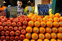 Fruit stand, market quarter, market halls, Thessaloniki, Chalkidiki, Macedonia, Greece, Europe