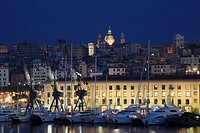 Port of Genoa with the skyline of the city, Liguria, Italy, Europe