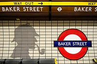 Baker Street Underground Tube Station Symbol with Sherlock Holmes Tiles, London, England, UK