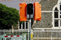 Out of use traffic lights with orange covers, Wales