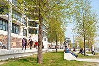 People enjoying great weather, HafenCity, harbour city, Hamburg, Germany, Europe