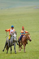 Mongolia, Arkhangai province, horses race for the Naadam festival