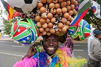Football fan waiting for the ticket office to open, 2010 FIFA World Cup, Cape Town, South Africa, Africa