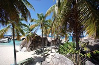 Caribbean, Virgin Gorda, British Virgin Islands, BVI, The Baths National Park, granite boulders, beach, palm trees, ocean
