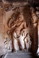 Statue Of Lord Vishnus Incarnation Narasimha At Badami Chalukya Cave , UNESCO World Heritage Site , Bagalkot , Karnataka , India