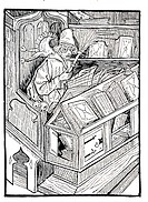 The bibliophile, historical image from History of German Literature from 1885