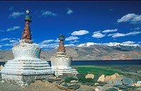 Stupas at Tso Moriri Ladakh, Himalaya, northern India, Asia