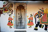 Door with wall painting , Shilpagram , Udaipur , Rajasthan , India