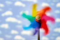 Pinwheel in the wind, symbolic for wind energy, sustainability