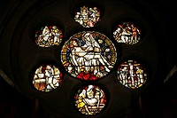 Stained-glass window of St Mark's Chapel, Altenberger Dom or Bergischer Dom, Altenberg Cathedral, Altenberg, Odenthal, Rheinisch-Bergischer-Kreis dist...
