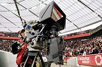 Television camera to produce three-dimensional images of a soccer game, standing on the sidelines of BayArena stadium, Leverkusen, North Rhine-Westpha...