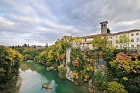 Natisone river from the Devil's Bridge, autumnal colours, Cividale, Friuli, Italy, Europe