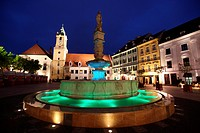The marketplace or city hall square with Maximilian Brunnen in the Old Town of Bratislava of the Hauptown of Slovakia.