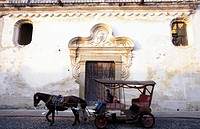 A horse carriage in the Old Town of Antigua in Centrally Guatemala in Central America.