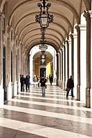 Arcades of the Pra&#231;a do Com&#233;rcioaka as Terreiro do Pa&#231;o, a famous tourist spot in Lisbon, Portugal