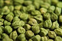 Close ups of green chick peas green gram channa