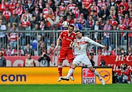 Duel, Diego Contento, FC Bayern Munich, left, vs. Timo Gebhart, VfB Stuttgart, right, Allianz Arena, Munich, Bavaria, Germany, Europe