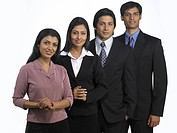South Asian Indian executive men and women standing in style MR