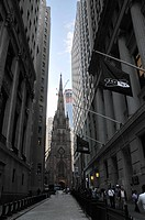 Trinity Church, Wall Street, Financial District, New York City, North America, USA