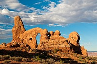 TURRET ARCH rock formation in the morning, Arches National Park, Utah, USA