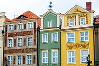 Colourfull buildings around the main square at the city centre of Poznan, Poland
