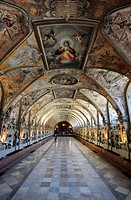 Antiquarium, Muenchner Residenz royal palace, home of the Wittelsbach regents until 1918, Munich, Bavaria, Germany, Europe