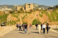 Tourists in front of the Crusader Castle of Jbeil, Byblos, Lebanon, Middle East, Orient