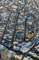 Aerial photo, town centre in the snow in winter, Olpe, North Rhine_Westphalia, Germany, Europe