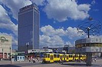 Alexanderplatz square with tram, world clock, Park Inn Hotel, Mitte district, Germany, Europe