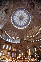 Ornate Interior of The Blue Mosque, Sultan Ahmet Camii, Istanbul, Turkey